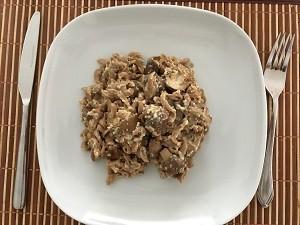 Dinkelnudeln mit Pilz-Sahne-Soße
