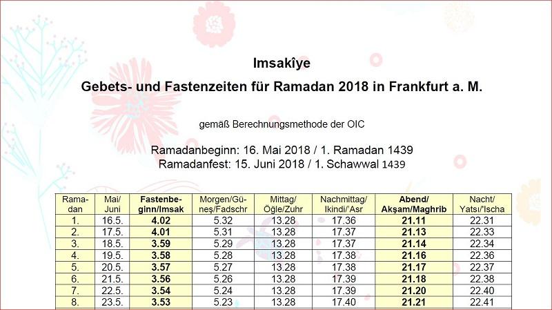 Ramadankalender 2018 für Frankfurt am Main   kandil.de