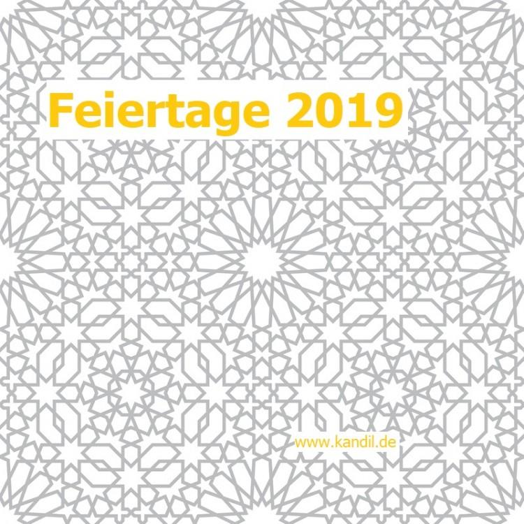 Islamische Feiertage 2019