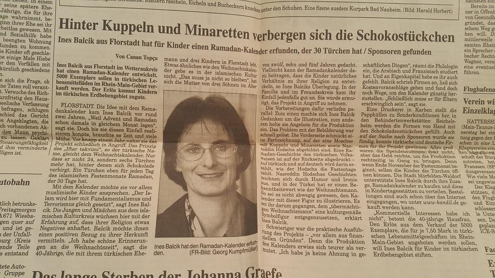 Frankfurter Rundschau vom 28. Oktober 2000, Ramadankalender von Ines Balcik