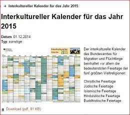 interkultureller Kalender 2015